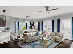 Bright Living And Dining Room With Transitional Decor Rendering thumb