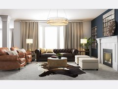 Masculine Glam Living Room Interior Design Rendering thumb