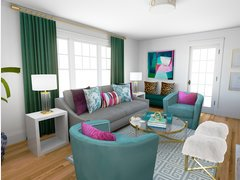 Glam Colourful Living Room Transformation Rendering thumb