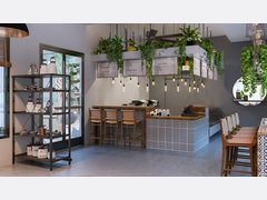 Coffee Shop With Eclectic Decor Rendering thumb