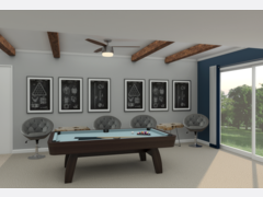 Sleek and Modern Game Room Design Rendering thumb