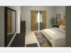 Mustard Accents for Traditional Bedroom Rendering thumb