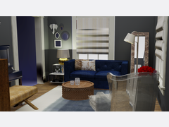 Eclectic/Modern Living Room Rendering thumb