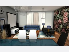 Glamorous Living/ Dining Room Rendering thumb