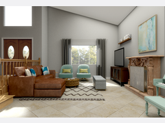 Eclectic and Cozy Living Room Transformation Rendering thumb