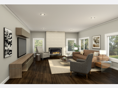 Sleek, Minimal Family Room Rendering thumb