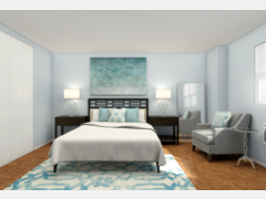 Calming Transitional Bedroom Rendering thumb