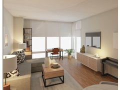 Contemporary neutral living dining room Rendering thumb