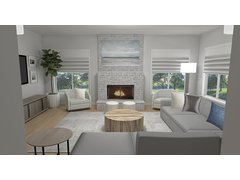 Modern Family Room & Foyer Transformation Rendering thumb