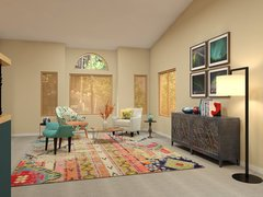Colorful Eclectic Living Room Rendering thumb
