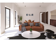 Sophisticated Minimalistic Living Room Design Rendering thumb