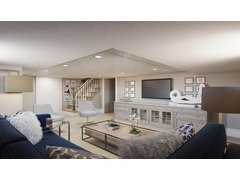Modern Basement Family Room Rendering thumb