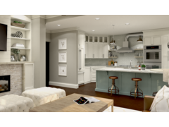 Stylish Eclectic Living Room and Kitchen Design Rendering thumb