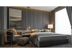 Masculine Contemporary Master Bedroom Rendering thumb