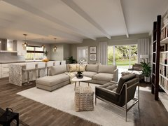 White Kitchen and Living Room Interior Design Rendering thumb