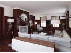 Rustic Oak Living Room Design Rendering thumb