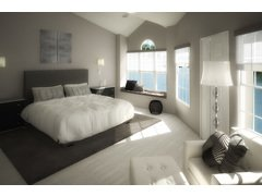 Debbies Classy Black & White Bedroom Design Rendering thumb