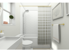 Modern and Sleek White Bathroom Design Rendering thumb