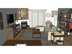 Averys Modern, Rustic Living Room Rendering thumb