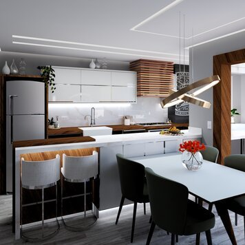 Online design Modern Combined Living/Dining by Yasmin C. thumbnail
