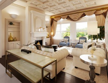 Online design Transitional Combined Living/Dining by Farzaneh K. thumbnail