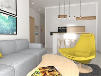 Online design Contemporary Combined Living/Dining by Eleni M. thumbnail
