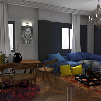 Online design Contemporary Combined Living/Dining by Ahmed E. thumbnail