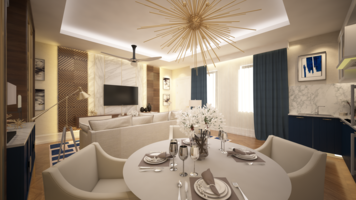 Online design Transitional Combined Living/Dining by Atif N. thumbnail