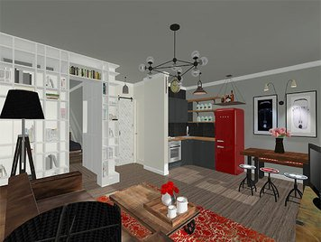 Online design Transitional Combined Living/Dining by lila n. thumbnail