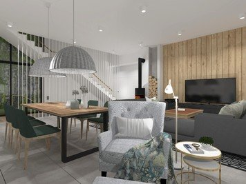 Online design Transitional Combined Living/Dining by Agata M. thumbnail