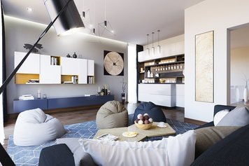 Online design Contemporary Combined Living/Dining by Anahit M. thumbnail