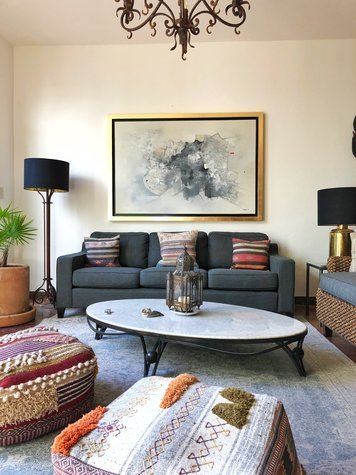 mesmerizing artsy eclectic living room | Interior design sample by Christine M.