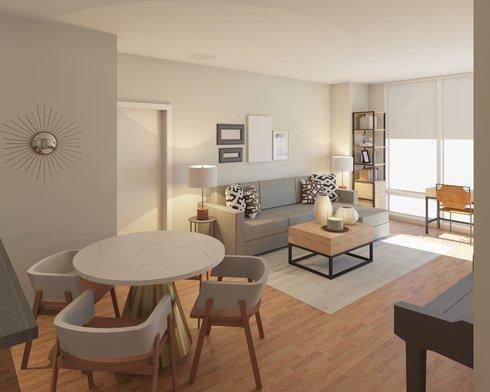 Stupendous Contemporary Neutral Living Dining Room Decorilla Machost Co Dining Chair Design Ideas Machostcouk