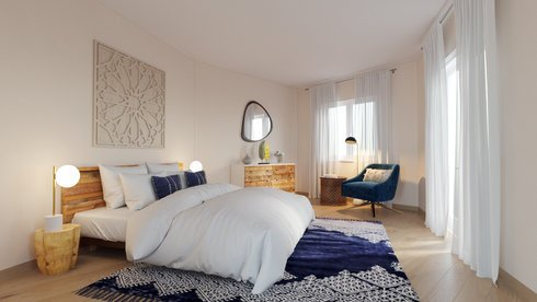 Cozy contemporary master bedroom & kids room | Decorilla
