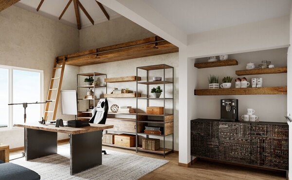 Two Home Offices Online Design Rendering