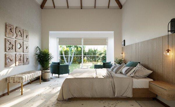 Modern Coastal Living Room and Bedroom Makeover Rendering