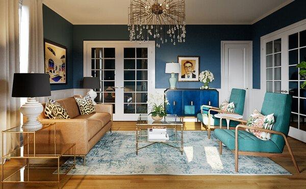 Eclectic Formal Living Room Interior Design Rendering