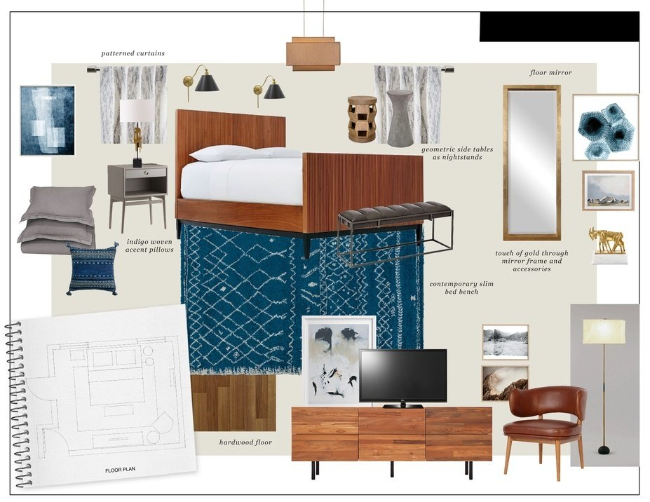 Craftsman Style Bedroom Decorilla,Navy Blue Feature Wall Living Room