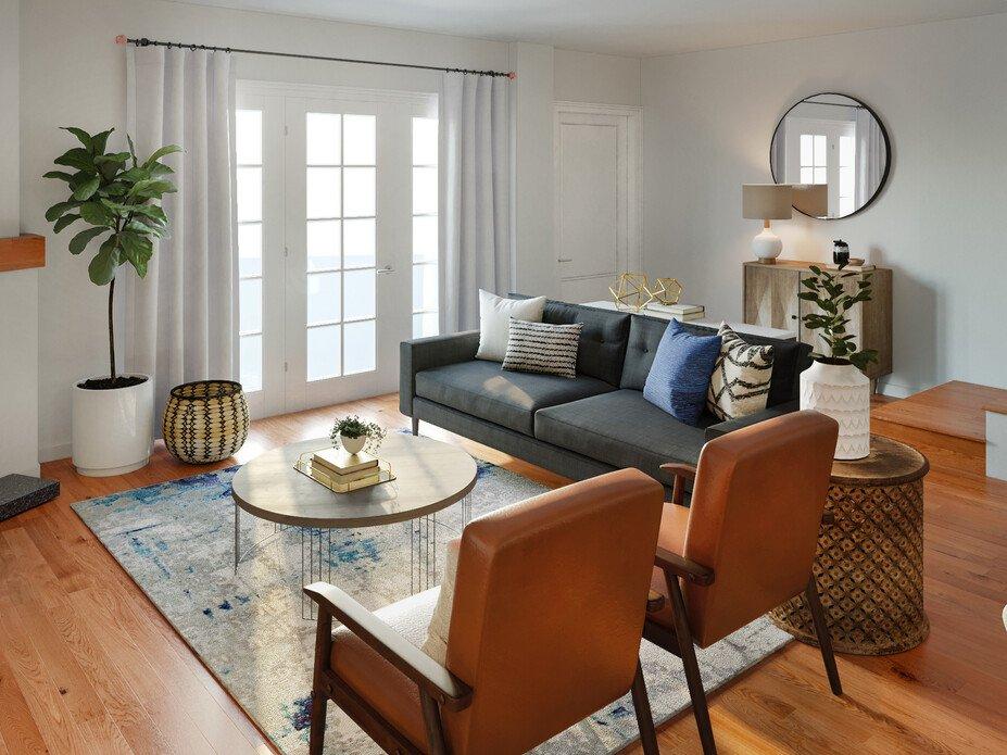Mid-century modern living room and study tra...   Decorilla