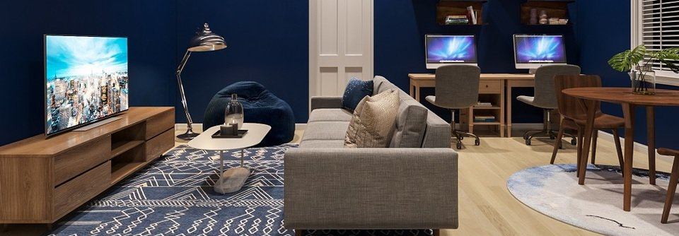 Living Room And Play Room With Blue Accents Decorilla