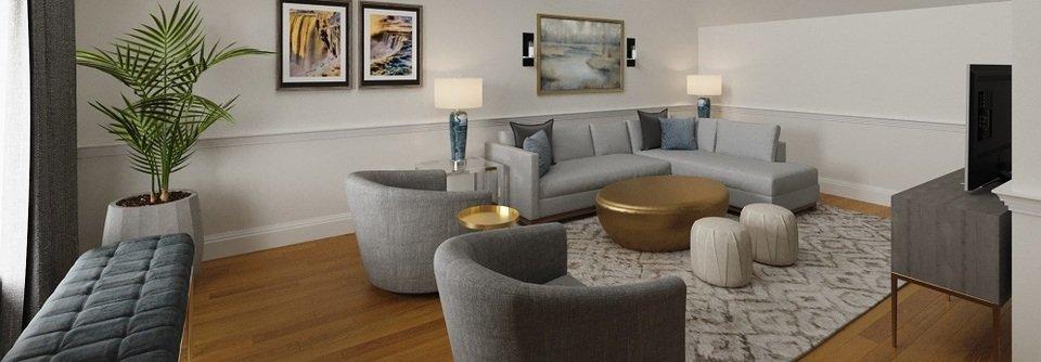 vaulted ceiling transitional living room design  decorilla