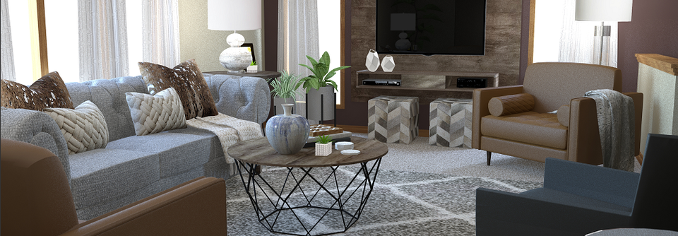 transitional living room in brown and grey  decorilla