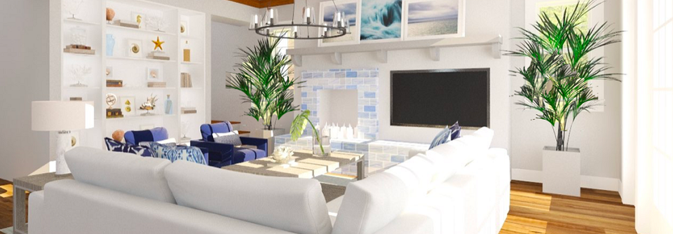 White and Blue Contemporary Living Room | Decorilla