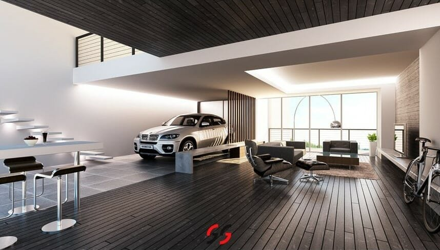 brown-and-white-living-room-with-car