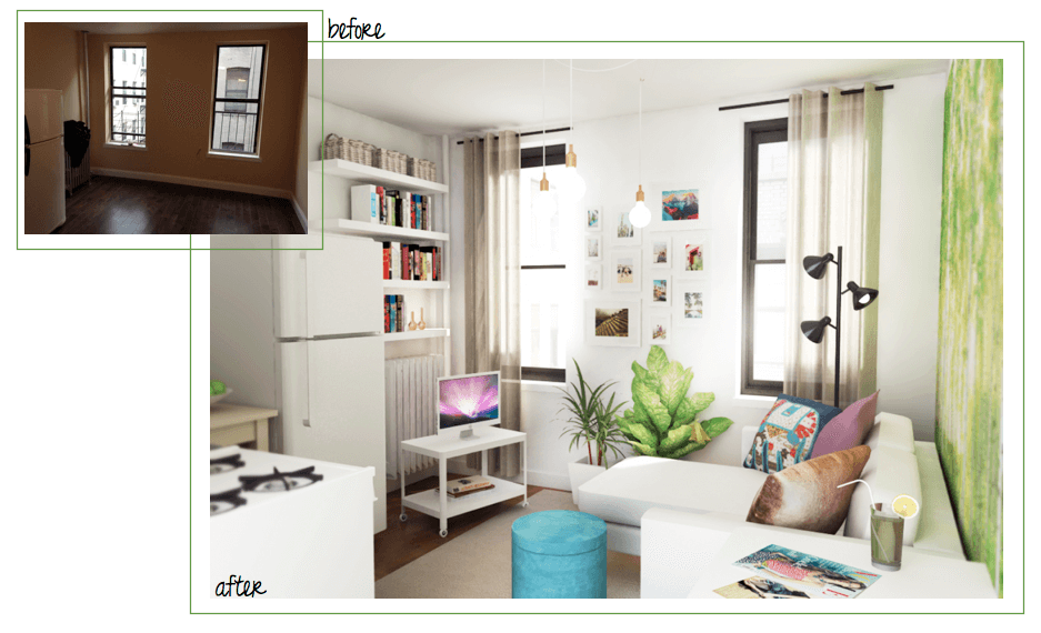 tiny studio decoration project before after