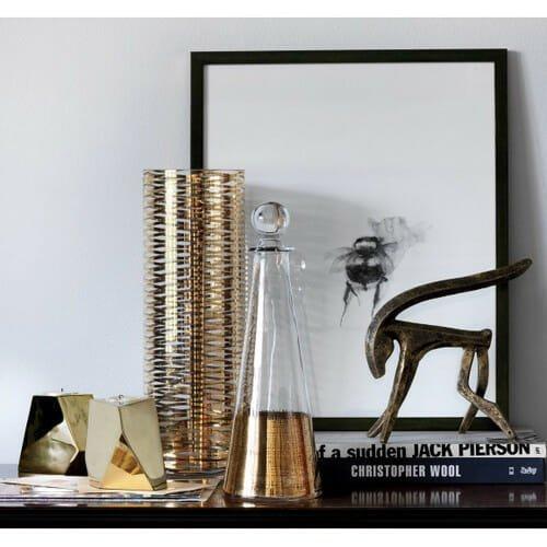 Decor_Gift_DwellStudio-Crosshatch-Cone-Gold-Decanter