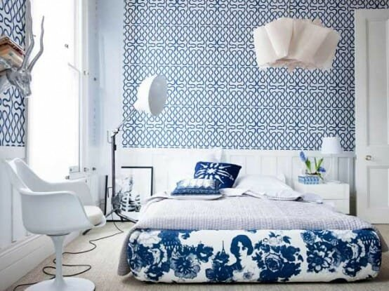 Blue-Patterns-Geometric-Wallpaper-Designs-Florist-Bedding-Sets-Single-Chair-Stand-Lamp-And-White-Table-Side-Bed