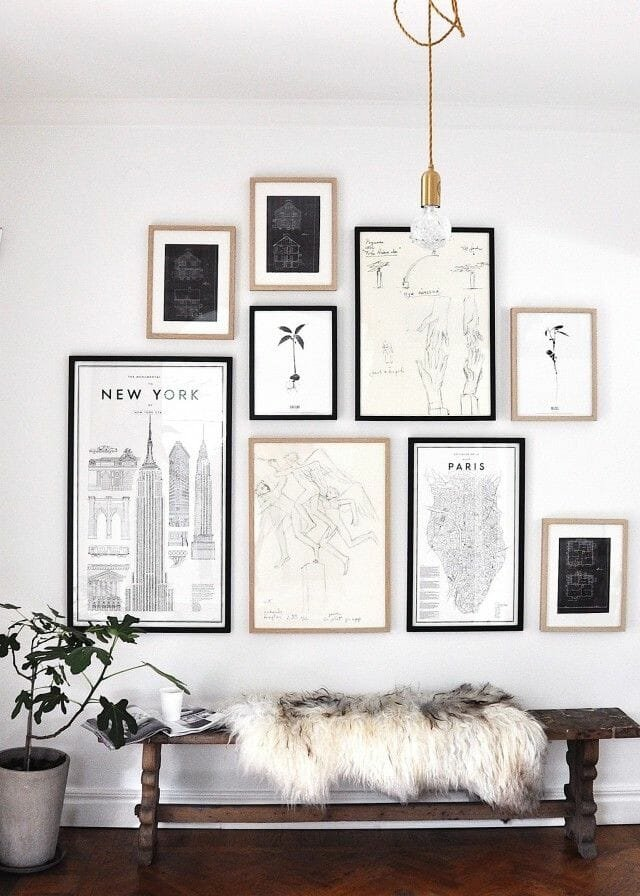 gallery wall tips black & white