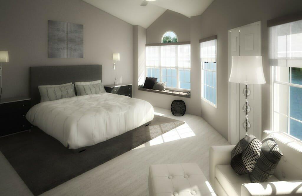 Monochromatic bedroom design