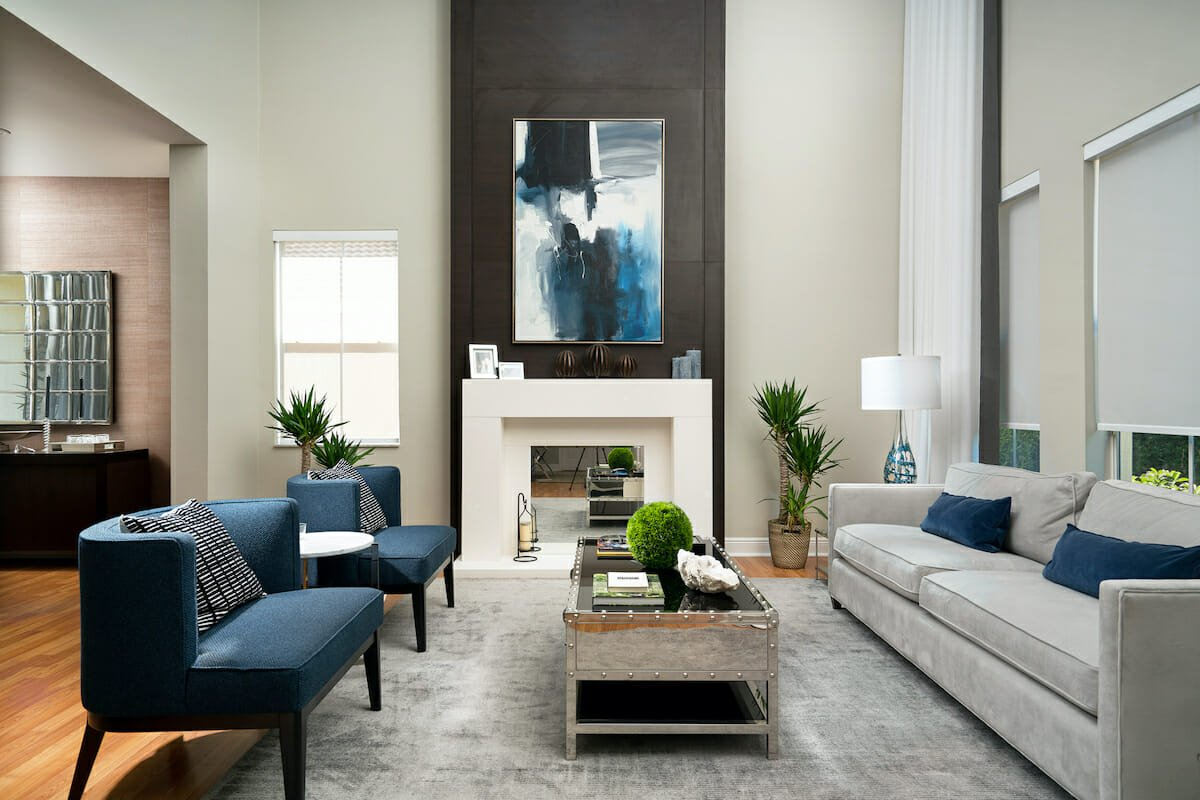 High ceiling living room design by houzz interior designer miami, renata bustos
